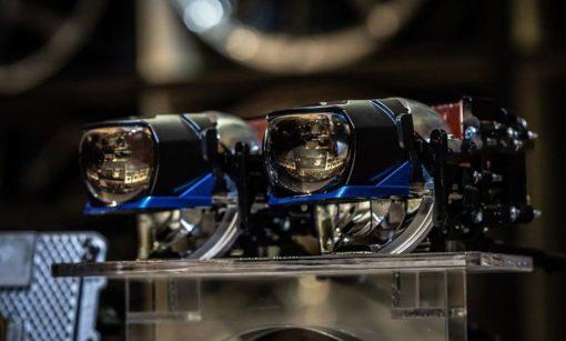 Bi Laser Henvvei L91 sở hữu thiết kế sắc nét với màu xanh bắt mắt