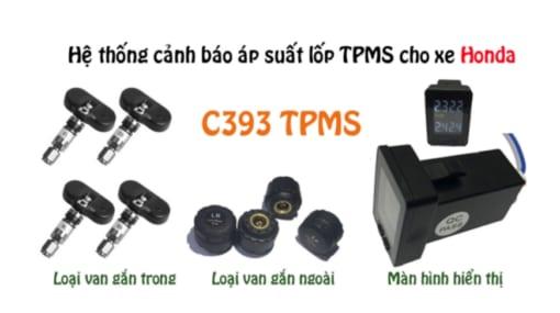 TPMS C393 là hệ thống cảm biến áp suất lốp gồm có một bộ thu có màn hình và các van cảm biến